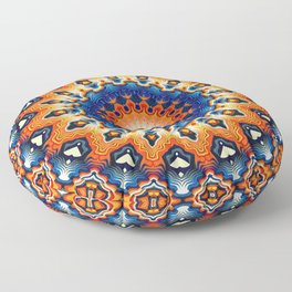 Geometric Orange And Blue Symmetry Floor Pillow