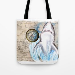 Great White Shark Compass Vintage Map Tote Bag