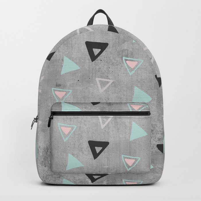 60s -Black abstract triangle pattern on concrete -Mix&Match with Simplicty of life Backpack