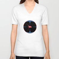 nasa V-neck T-shirts featuring Tie Fighter Meets NASA Voyager 1 by Ryan Huddle House of H