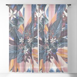 Tropical floral pattern with exotic flowers Sheer Curtain