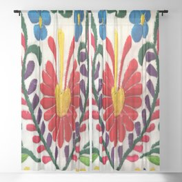 Red Mexican Flower Sheer Curtain