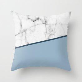 Real White Marble Half Ocean Grey Steel Blue Throw Pillow