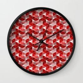 Ruby Red Optics Triangles Pattern Wall Clock