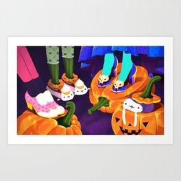 Pumpkin Cats Art Print