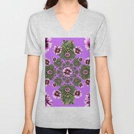 Lilac Purple Abstract Dahlias Garden Art Unisex V-Neck