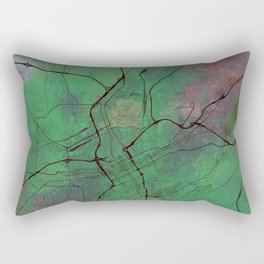 Birmingham Alabama Street Map Art Watercolor Еarth Colors Rectangular Pillow