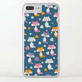 Foxes in many colors Clear iPhone Case