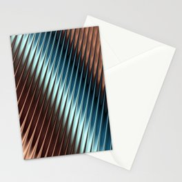 Stripey Pins Teal & Taupe - Fractal Art Stationery Cards
