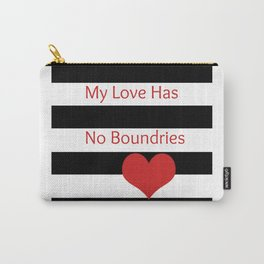 Black and White Stripes w/Red Heart and My Love Has No Boundries Carry-All Pouch