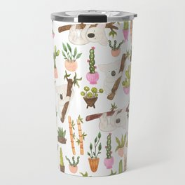 watercolor koala bears hanging out in their cactus succi garden Travel Mug