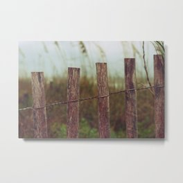 Wooden Fencing on the Beach Metal Print