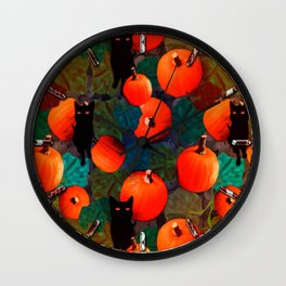 Pumpkins and Black Cats Wall Clock