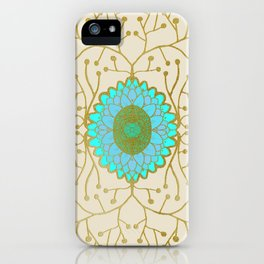 Turquoise and Gold Sunflower iPhone Case