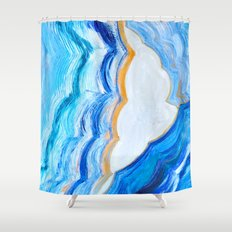 Blue and gold agate Shower Curtain