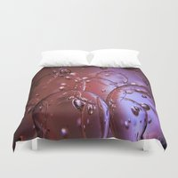 glass Duvet Covers featuring Red Glass Bubbles by Brown Eyed Lady
