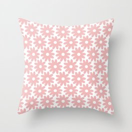 Crayon Flowers Smudgy Floral Pattern in Pink and White Throw Pillow