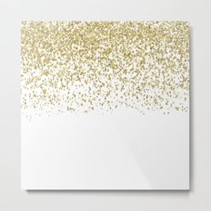 Sparkling gold glitter confetti on white backround- Pattern Metal Print