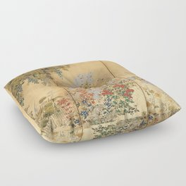 Japanese Edo Period Six-Panel Gold Leaf Screen - Spring and Autumn Flowers Floor Pillow