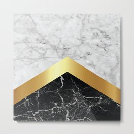 Arrows - White Marble, Gold & Black Granite #147 Metal Print