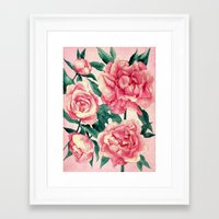 peonies Framed Art Prints featuring Peonies by Lynette Sherrard Illustration and Design