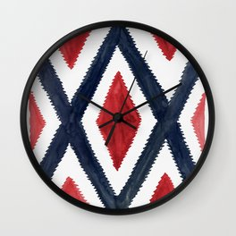Del Rio Watercolor in Red and Blue Wall Clock