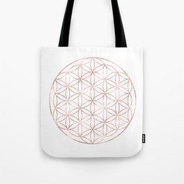 Mandala Rose Gold Flower of Life Tote Bag