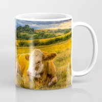 cows Mugs featuring Resting Cows by David Pyatt