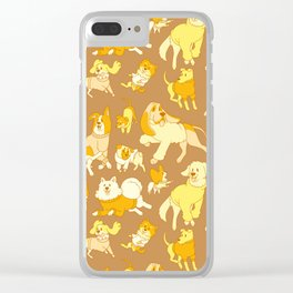 Dogs In Sweaters (Brown) Clear iPhone Case