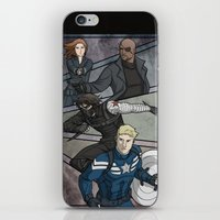 the winter soldier iPhone & iPod Skins featuring Winter Soldier by DeanDraws