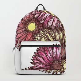 Pink and Yellow Gerber Daisies Watercolor and Ink Painting Backpack