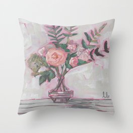 Pops of Hot Pink Florals Throw Pillow