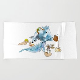 The Narwhal and Unicorn tea party Beach Towel