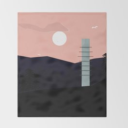 Tower in pink sky and a blue landscape Throw Blanket
