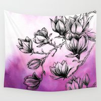 magnolia Wall Tapestries featuring Magnolia by Nemeth Alina