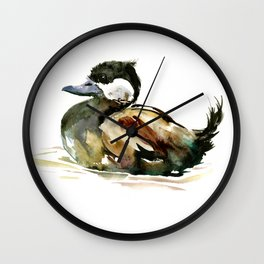 Ruddy Duck, duck children illustration, cute duck artwork Wall Clock
