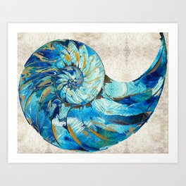 Tropical Blue Beach Art - Nautilus Shell Bleu 2 - Sharon Cummings Art Print
