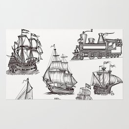 Hand drawn boats collection Rug