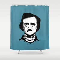 edgar allan poe Shower Curtains featuring Edgar Allan Poe by Laura Meg