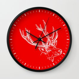 Deer Red White Wall Clock