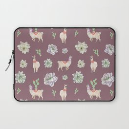Cute Llamas with Flowers and Cacti (taupe theme) Laptop Sleeve