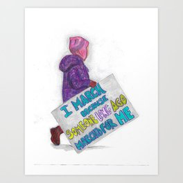 Women's March Pussyhat Girl Protester Art Print