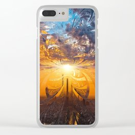 A Stained Glass Fractal Sunset Over Tianjin, China Clear iPhone Case