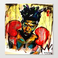 basquiat Canvas Prints featuring Basquiat by Ruby Chavez