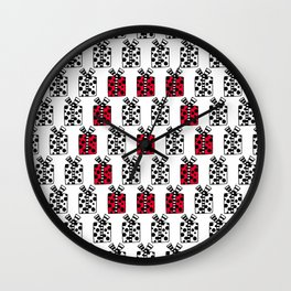 13 Red Boxes Wall Clock