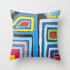City Colors, Urban Happiness, Abstract Painting, Pop Art Throw Pillow