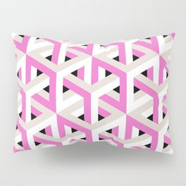 Pink and White Pattern with Grey and Black Fractal Art Pillow Sham