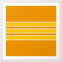 70s Style Orange Yellow White Retro Stripes Ostara Art Print