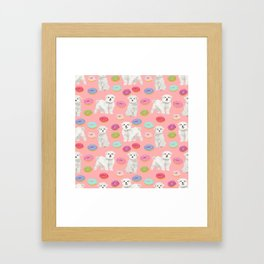 Maltese donuts dog breed funny pet lover dog person pattern print by pet friendly Framed Art Print