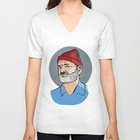 zissou V-neck T-shirts featuring Zissou by Max the Kid